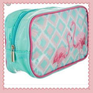 NWT flamingo cosmetic bag
